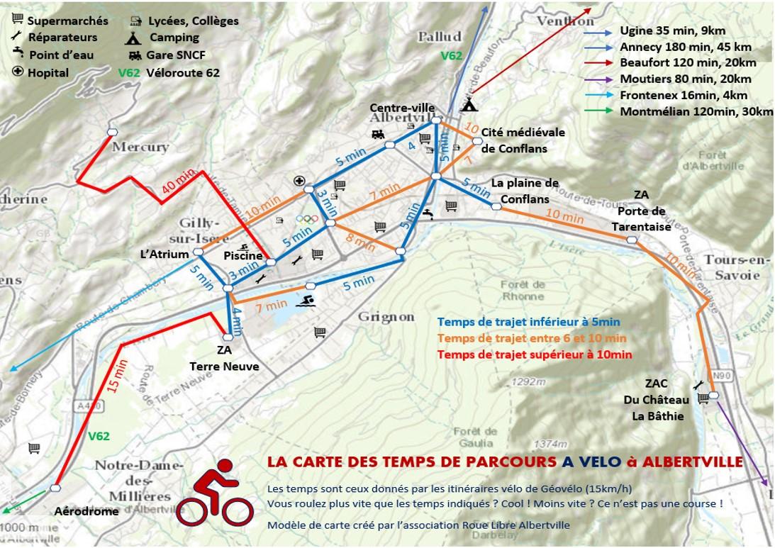 Carte des temps de parcours à vélo sur Albertville